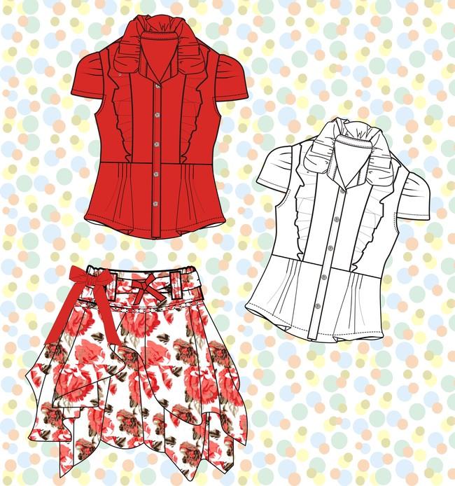 服装矢量图 服装效果图款式图 裙子矢量图服装设计手稿 女装趋势设计