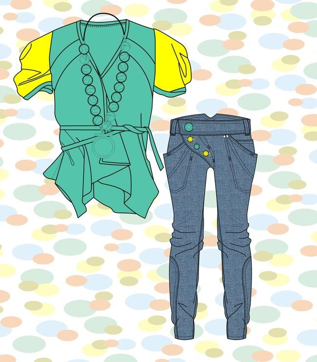 雪纺上衣款式图牛仔裤手稿女裤矢量图