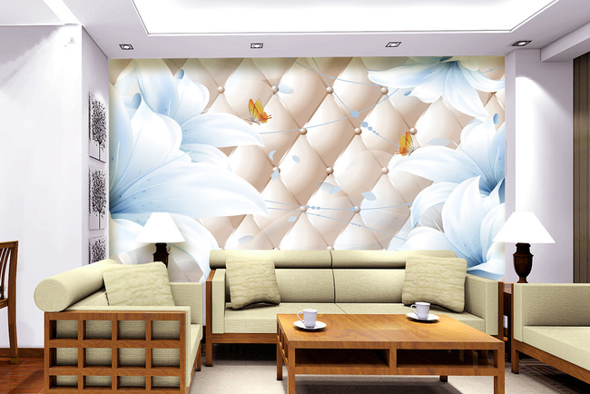 百合花纹软包3d电视背景墙