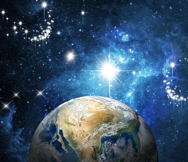 温馨唯美地球宇宙星空蓝色电视背景墙