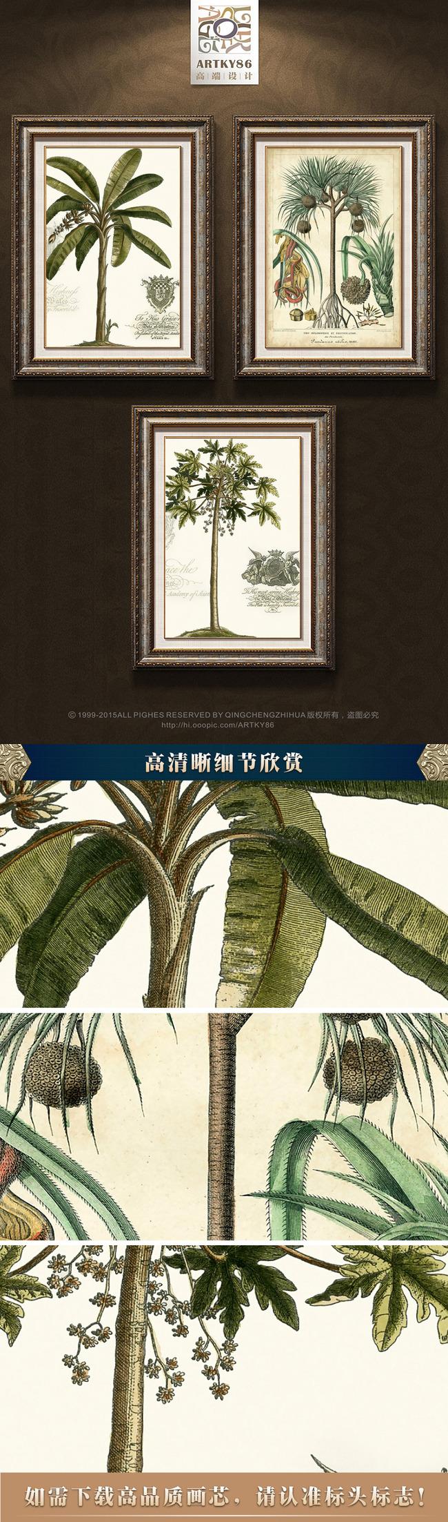 小清新绿色热带植物叶子大树植物图谱油画