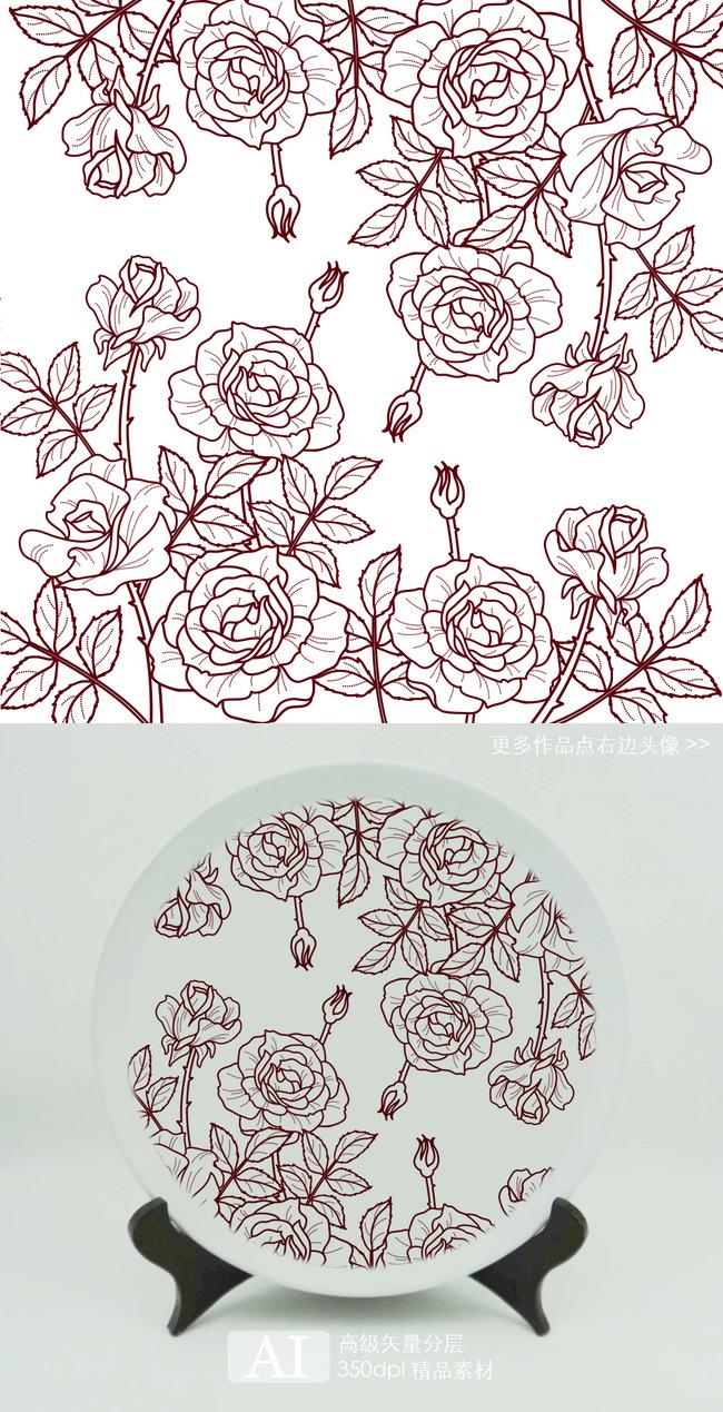热转印素描玫瑰花朵图案