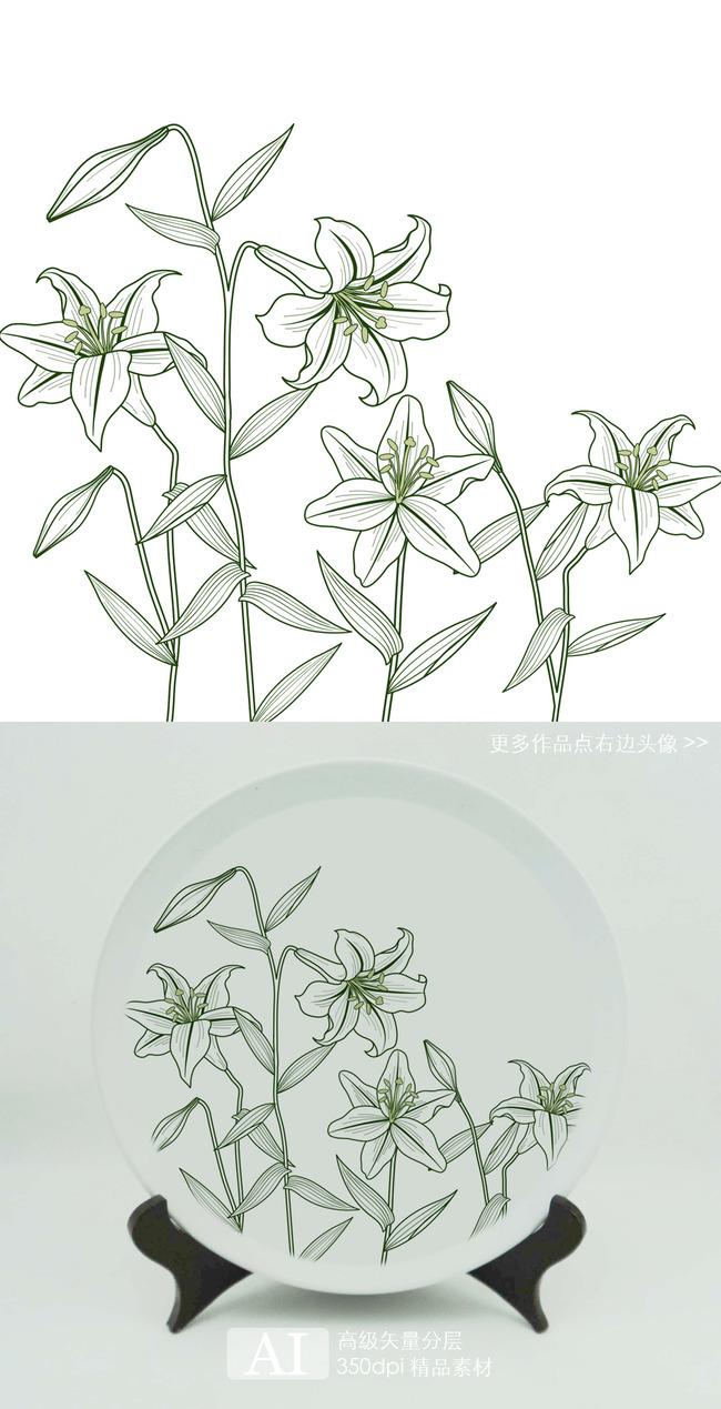 热转印素描百合花花朵图案