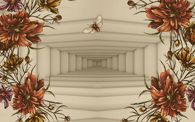 手绘复古花卉3d背景墙