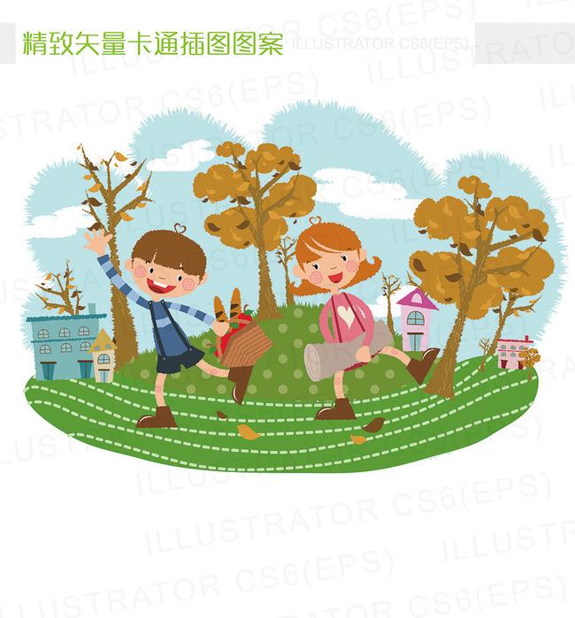精致矢量卡通秋天郊游野餐插图