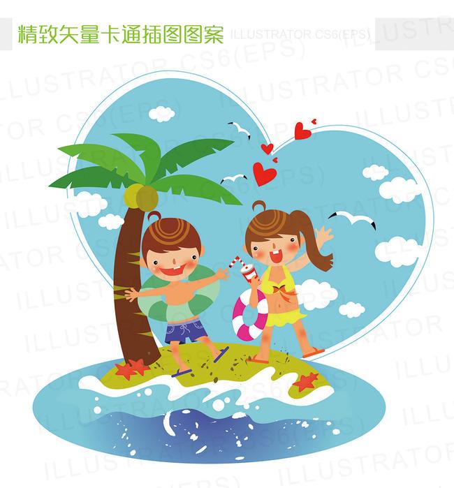 精致矢量卡通夏天海滩小岛游泳插图