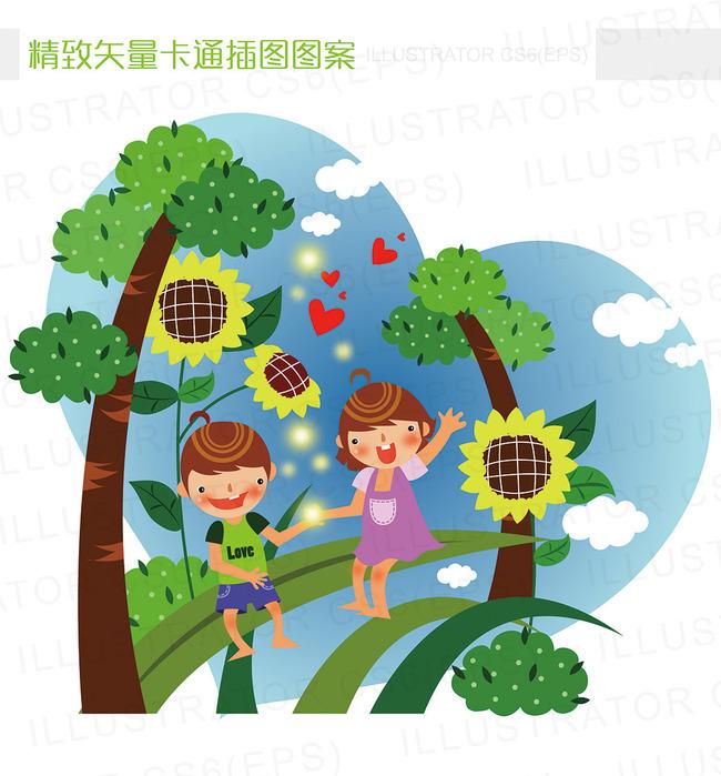 精致矢量卡通夏天树林郊游插图图片