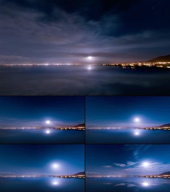 实拍海边月亮升起动态视频