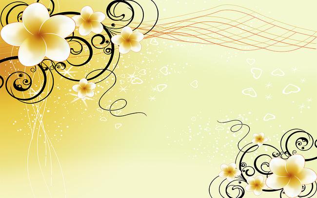 手绘简约线条太阳花朵电视背景墙