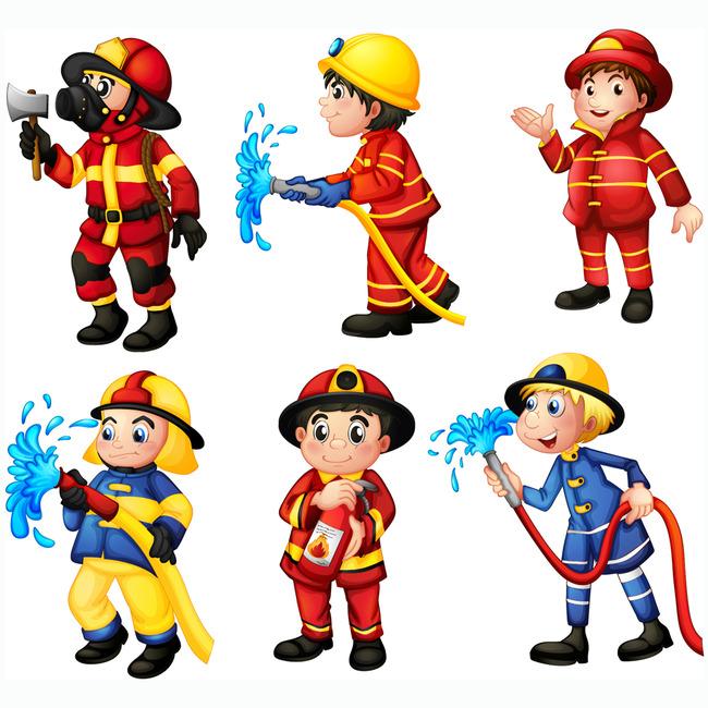 手绘矢量卡通消防员模板下载(图片编号:13458917)