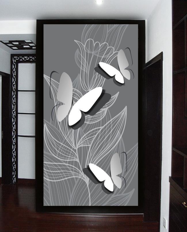 手绘3d蝴蝶线条花卉时尚简约玄关
