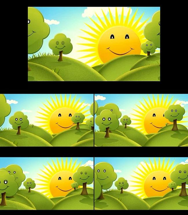 卡通树木草地视频素材