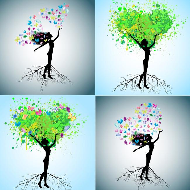 平面设计 花纹图案设计 卡通人物 > 人和树矢量剪影素材  下一张&nbsp