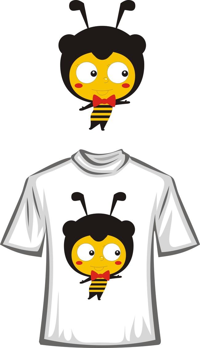 可爱卡通蜜蜂t恤图案
