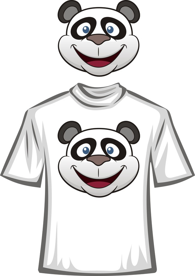 可爱卡通熊猫t恤图案