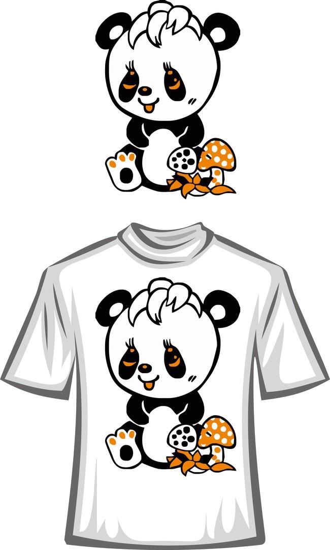 萌萌哒卡通幼崽熊猫t恤图案