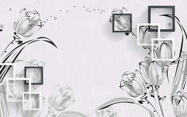 壁画 唯美 时尚 淡雅 3d 欧式 立体 灰色 梦幻 方框 郁金香 玫瑰 线条