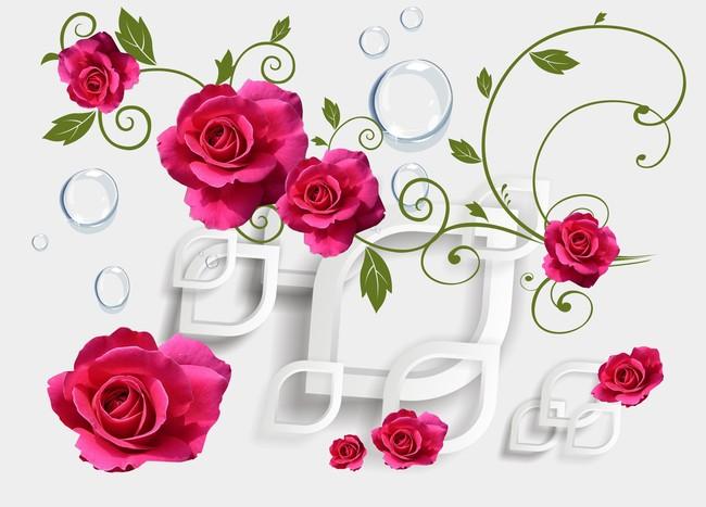 3d玫瑰菱形水泡泡背景墙花卉图案