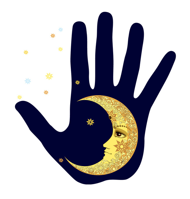 星星弯月亮手掌印t恤衫矢量图