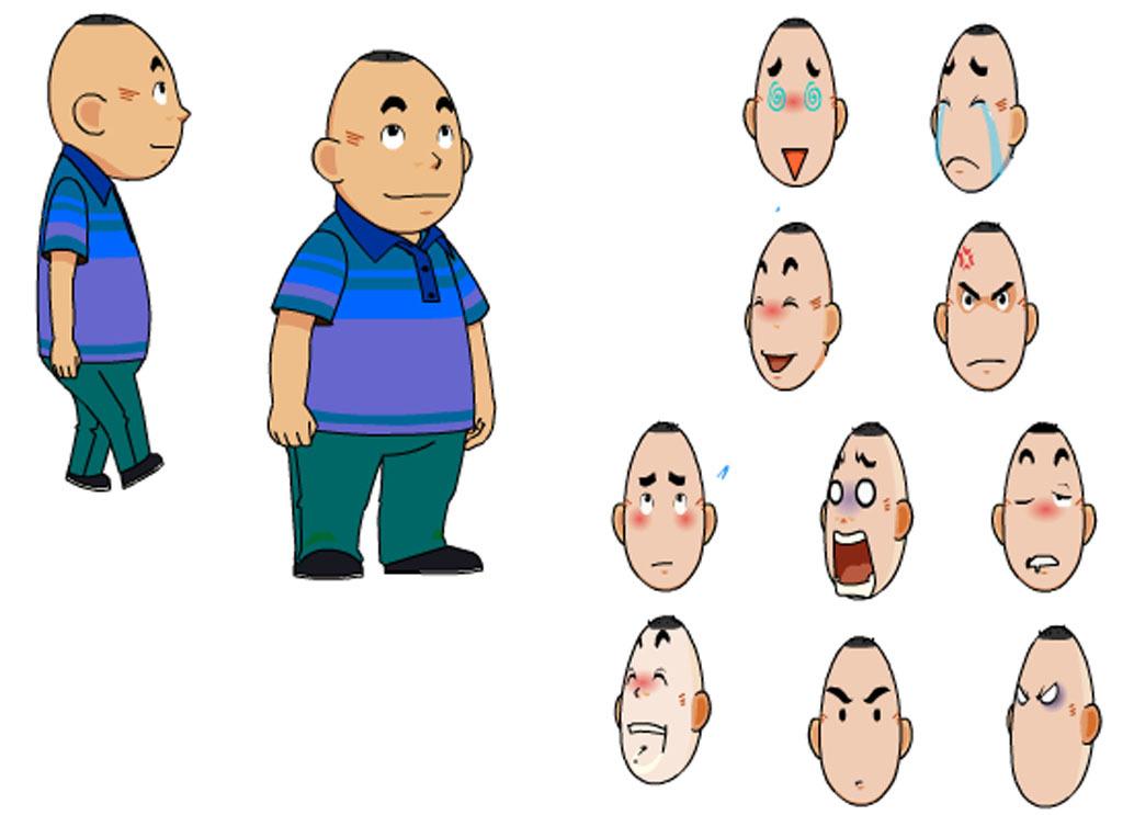 flash动画素材男人多面图和表情包图片