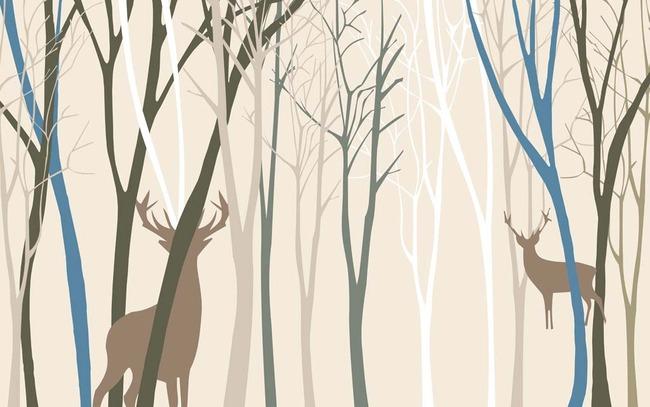树林小鹿电视背景墙