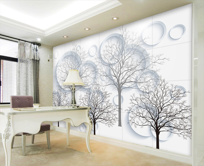 手绘黑白3d抽象树圆圈电视背景墙