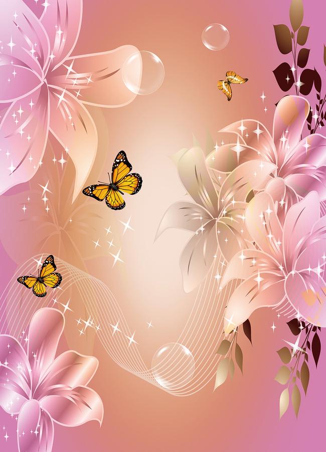 手绘百合花背景贴图展示