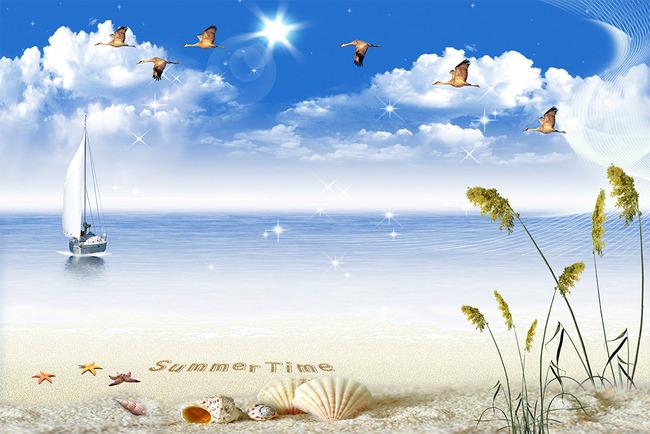 背景墙|装饰画 电视背景墙 电视背景墙 > 梦幻夏天大海天鹅芦苇沙滩