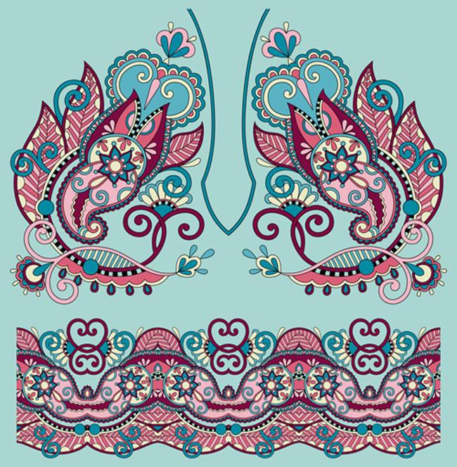 花纹花卉矢量图 瓷器图案图片