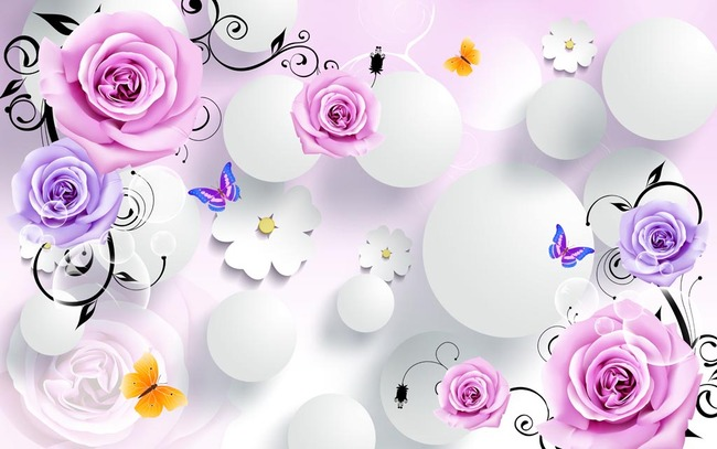 3d立体玫瑰花蝴蝶电视背景墙