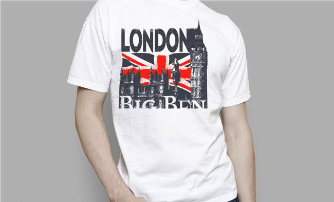 伦敦手绘t恤图案设计