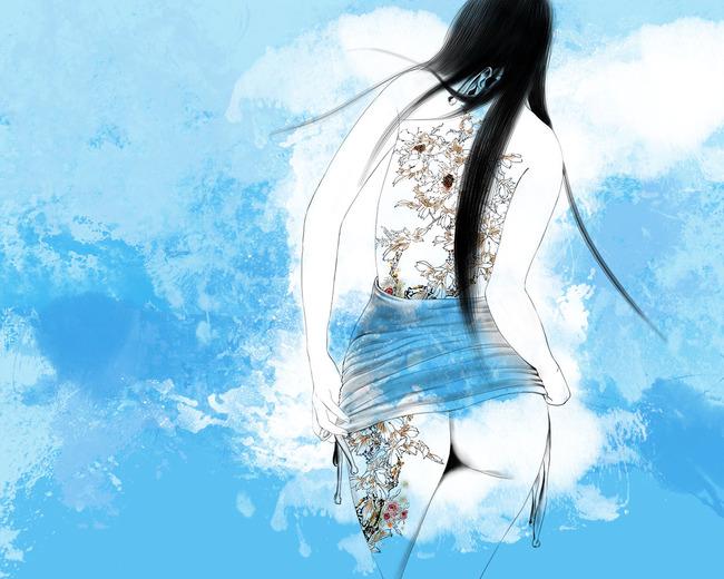 手绘美女电视背景墙分层图