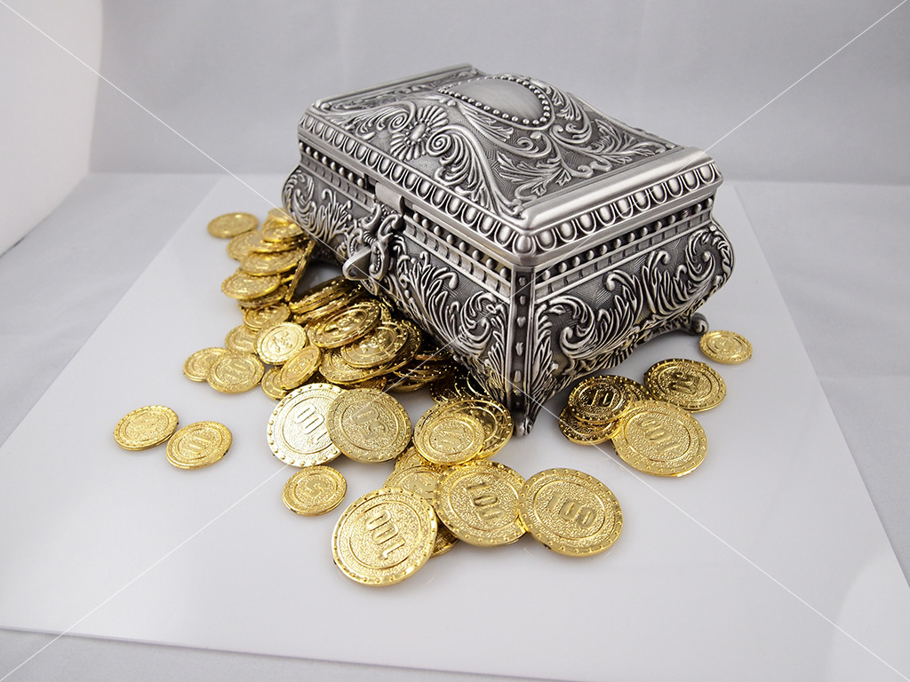 投资融资珠宝盒金币模板下载(图片编号:13478