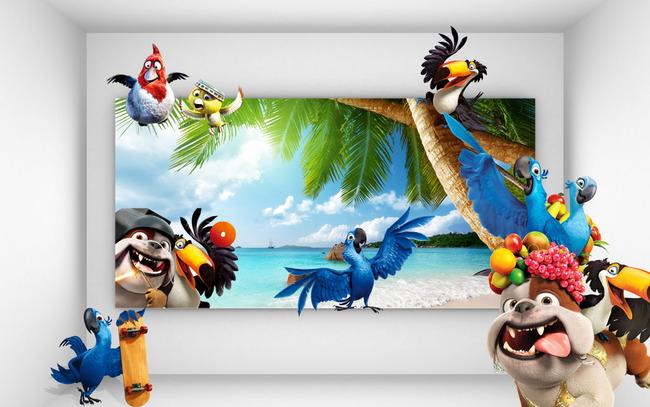 背景墙|装饰画 电视背景墙 3d电视背景墙 > 3d海洋儿童动物背景墙  下