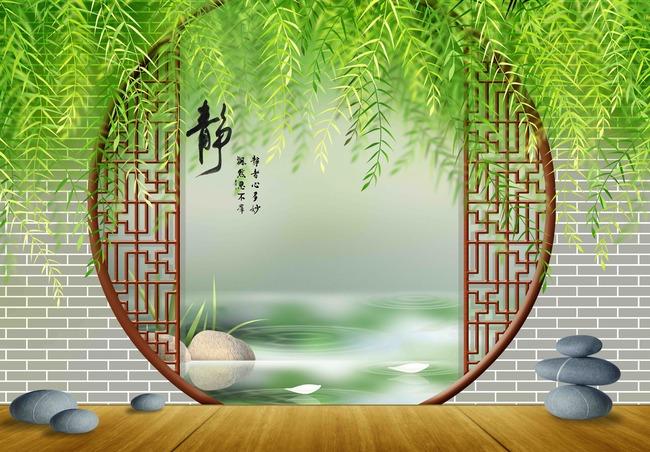 背景墙|装饰画 电视背景墙 3d电视背景墙 > 原创手绘3d中式圆门绿色