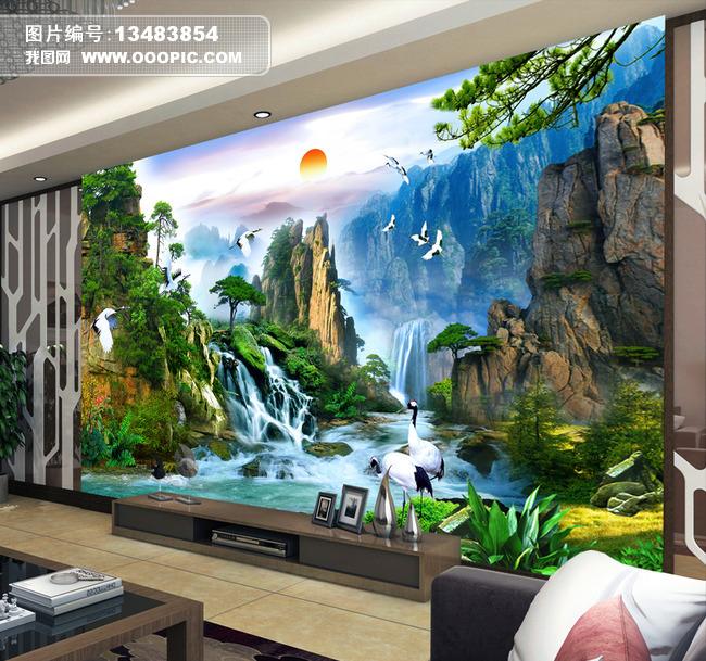 江山如画锦绣河山迎客松山水画电视背景墙图片