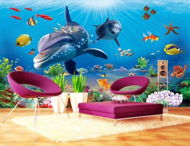 3d立体海底世界卡通背景墙壁画