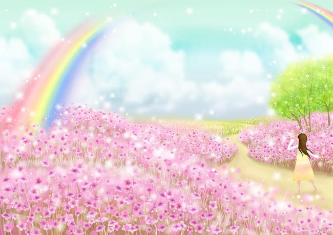 花海世界壁纸模板下载 花海世界壁纸图片下载 梦幻小树卡通儿童房