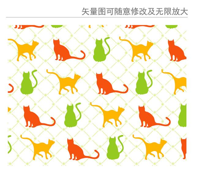 手绘猫动作插图矢量图图片下载 手绘猫动作插图矢量图 古典花纹花卉