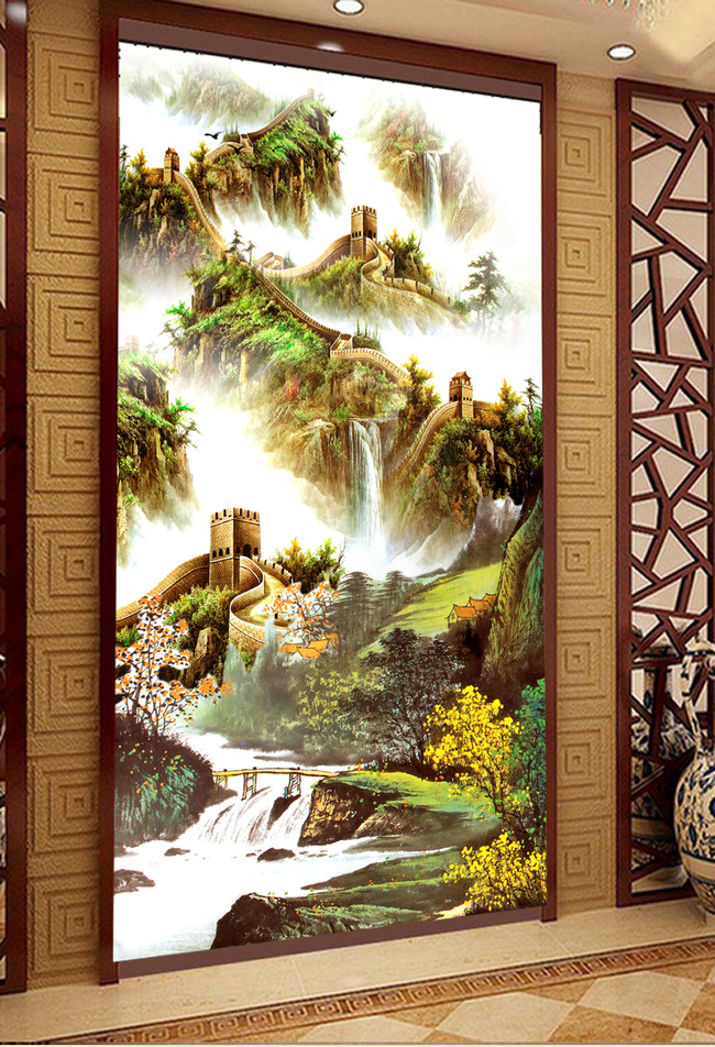 国画山水画万里长城江山多娇玄关壁画图片