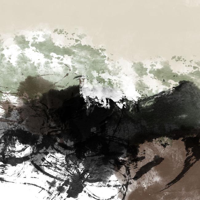 中国风水墨效果手绘雪山风景分层图无框画