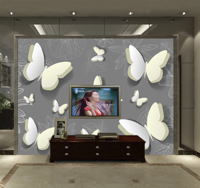 手绘3d蝴蝶线条花卉简约背景墙