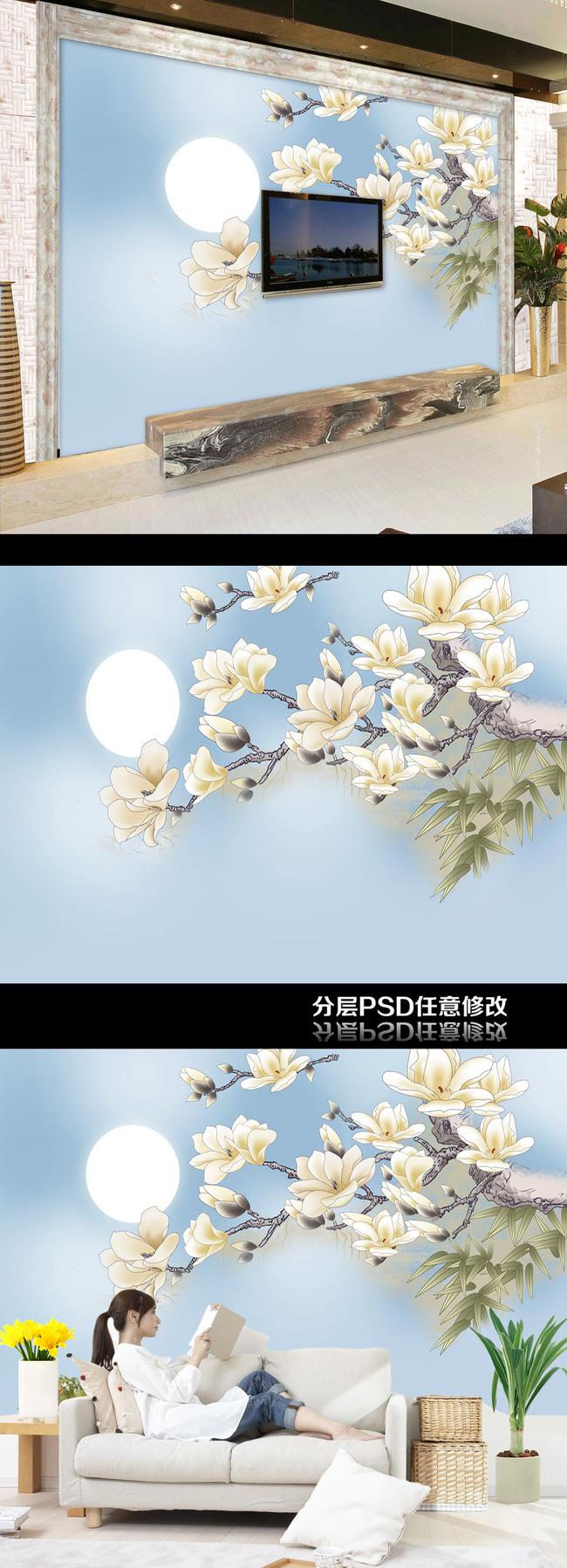 背景墙|装饰画 电视背景墙 手绘电视背景墙 > 花好月圆玉兰花蝴蝶倒影