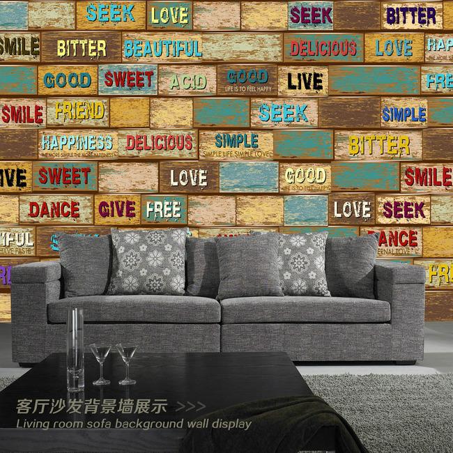 怀旧复古木纹英文字母3d立体电视背景墙