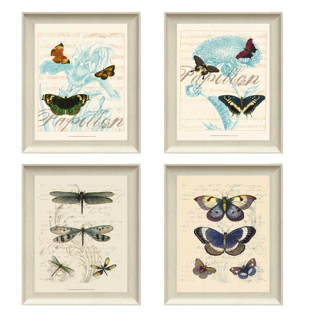 手绘花卉蝴蝶复古装饰画图片下载 客厅四联欧美风无框画