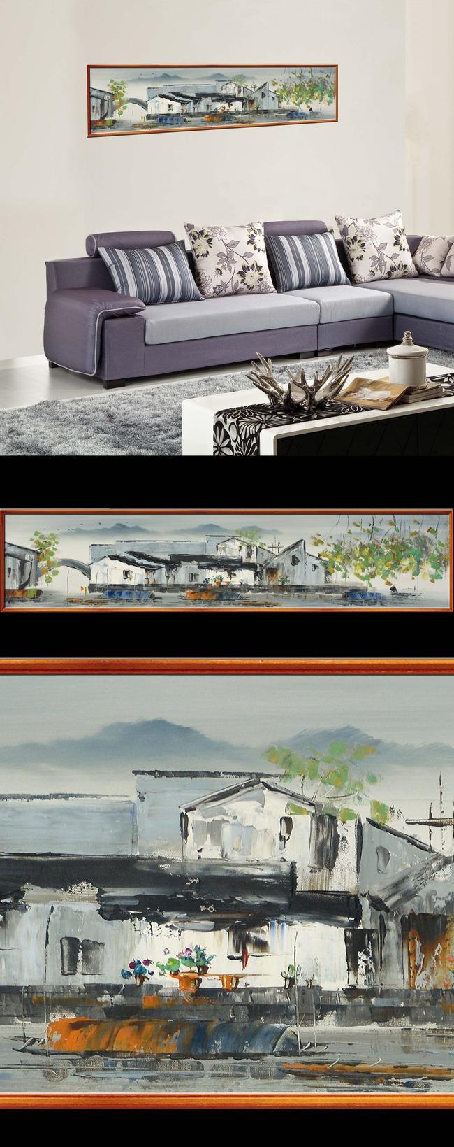 背景墙|装饰画 壁画 手绘壁画 > 现代中式小清新水墨彩色水上江南花