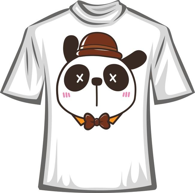 可爱熊猫卡通t恤图案