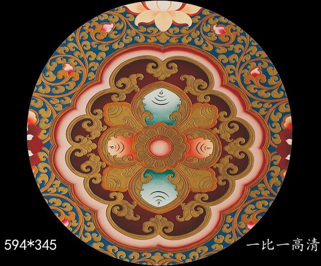 高清精美藏式花纹吊顶壁画图片