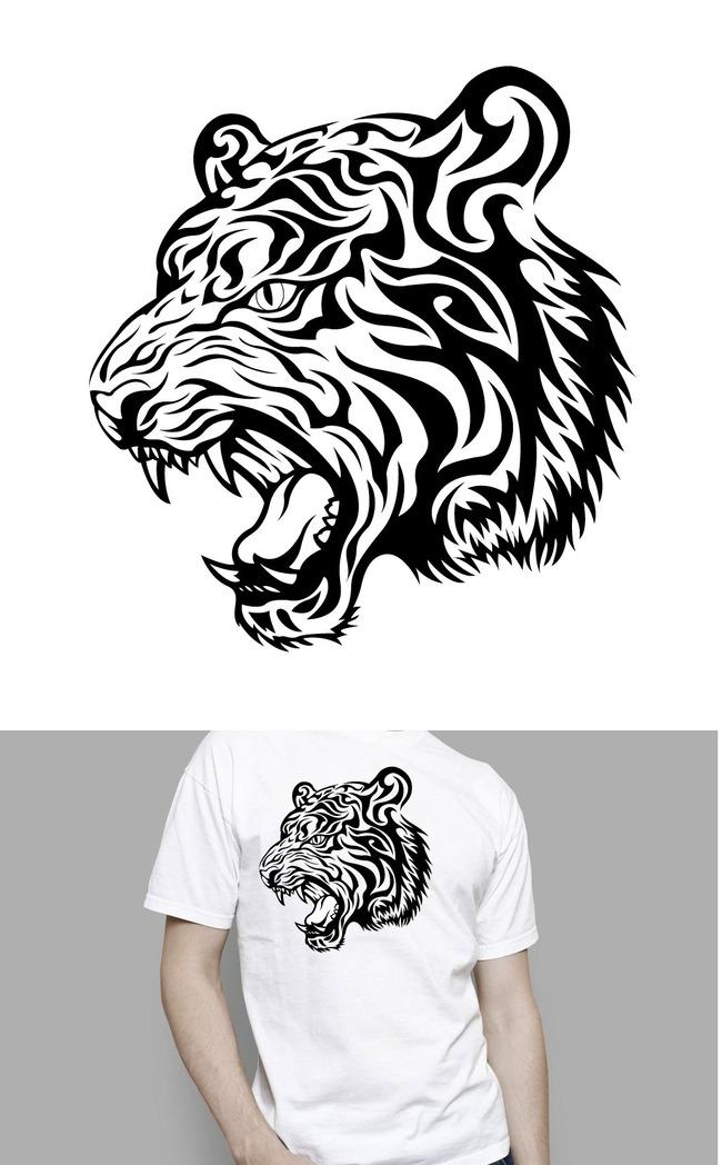 虎头t恤图案纹身图案模板下载(图片编号:13493506)_|t