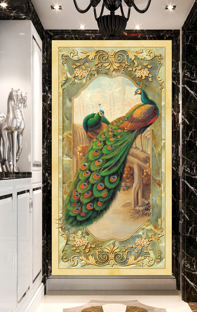 欧式玄关孔雀背景墙装饰画图片